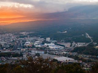 Mount Fuji and Fujiyoshida town