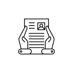 CV, files, hands icon. Element of Human resources for mobile concept and web apps illustration. Thin line icon for website design and development, app development
