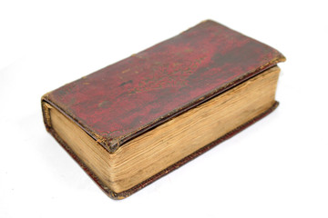 Antique Leather Bound Red book on White Background