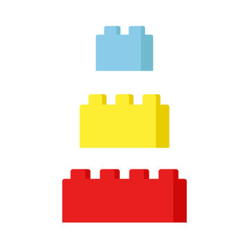 Construction connector bricks. Multi-colored toy bricks. Toy. Constructor. Vector illustration. EPS 10.