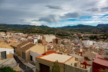 Town view from the caste of Jijona or Xixona in Alicante province