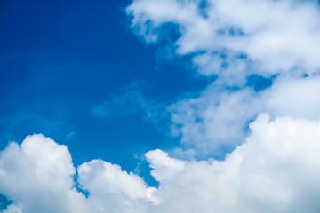 white heap cloud sunshine in tropical  blue sky soft cloud
