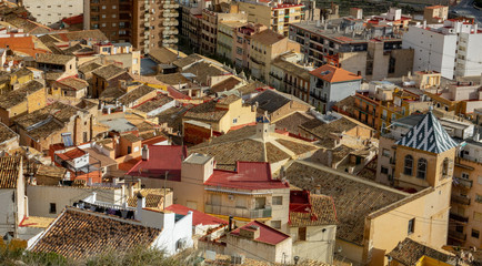 Ceramic tile rooftops of Jijona or Xixona in Alicante province