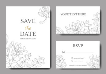 Vector Jungle botanical succulent flower. Engraved ink art illustration. Wedding background card decorative border.