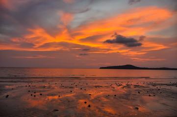 Amazing sunset in Koh Ta Kiev Island, Sihanoukville, Cambodia