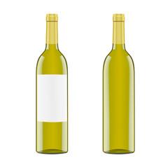 Black glass bottle for white wine isolated on white background. Vector.