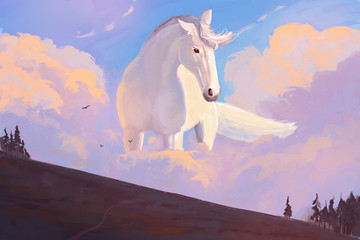 The horse is in the clouds. Abstract landscape with a horse - Illustration