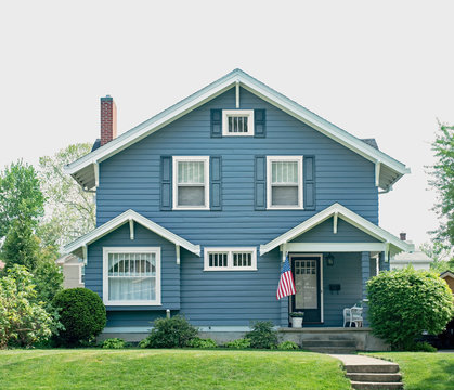 Basic Blue House with Small Porch