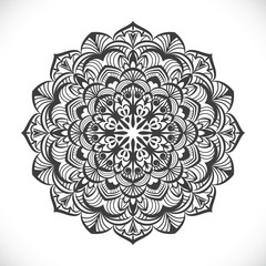 Black and white round floral element