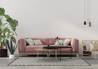 living room in pink with velvet sofa