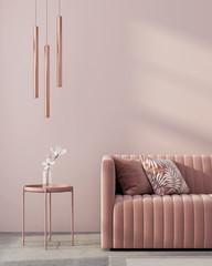 Monochrome interior in pink color