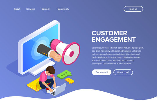 Isometric flat customer engagement or advertising concept. Megaphone in hand out computer screen. Man works at laptop. Internet advertising in work. Can use for web banner, infographics, hero images.