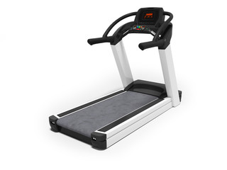 Black treadmill with electronic modes for training 3D render on white background with shadow
