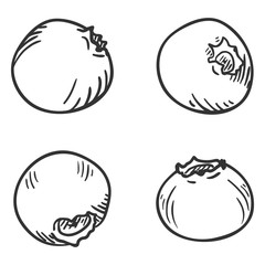 Vector Set of Sketch Blueberry