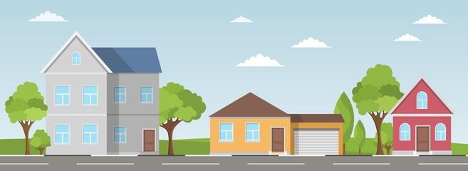 Fototapeta Houses set summer exterior modern illustration front apartment obraz