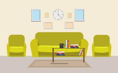 Living room home big set vector illustration modern flat