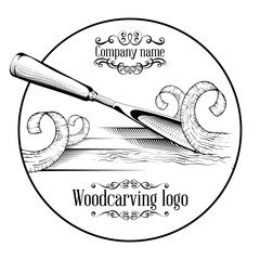 Woodcarving logotype Illustration with a chisel, cutting a wood slice, vintage style logo, black and white isolated engraving