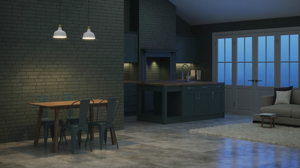 Modern interior of a country house. Interior with dark green kitchen and green brick walls. Night. Evening lighting. 3D rendering.