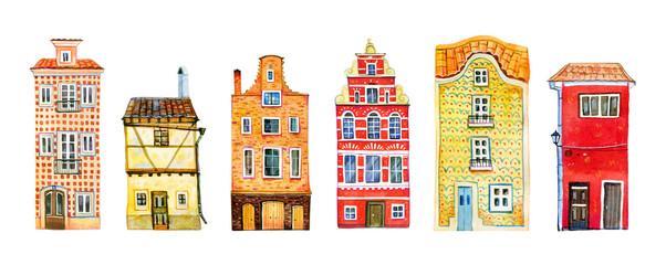 Wall Murals Bridges Set of yellow and red old stone europe houses in a row. Hand drawn cartoon watercolor illustration