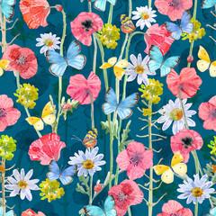 texture transparente à la mode avec des fleurs de coquelicots et de papillons. peinture à l& 39 aquarelle