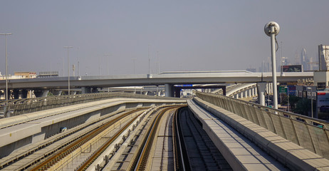 Tracks of an elevated stretch of Dubai metro