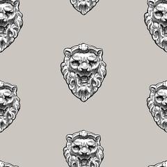 Seamless pattern of sculptural lion masks