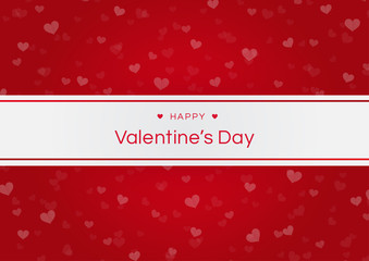 Happy valentines day with blur heart on red background, love concept. Vector illustration