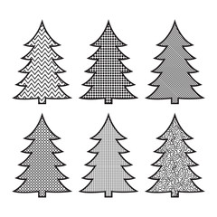 Set of Christmas tree icons in pop art stile Can be used for web and mobile. Vector illustration