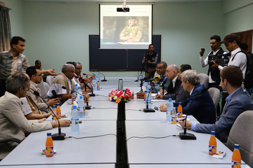 Danish Major General Michael Lollesgaard who heads a United Nations team tasked with monitoring ceasefire attends a meeting with Houthi-appointed local officials in Hodeidah, Yemen