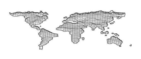 World map grid in bevel emboss style. Topography map of world. illustration