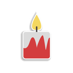 Candles Christmas 2 colored line sticker icon. Elements of Christmas in color icons. Simple icon for websites, web design, mobile app, info graphics
