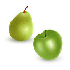 Set of green Apple and Pear on light background, realistic vector illustration