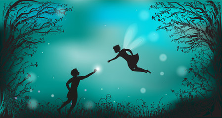 deep fairy forest silhouette at night with fairy girl and boy giving the lantern, fireflies,