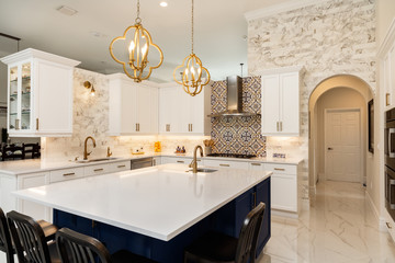 Modern White Kitchen in Estate Home Wall mural