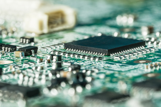 Close up macro of a surface mounted curcuits board with components