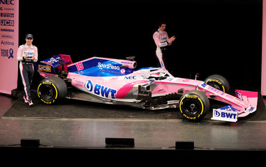 SportPesa Racing Point F1 Team drivers Sergio Perez and Lance Stroll unveil their team's new car livery at a pre-season launch event at the Canadian International AutoShow in Toronto