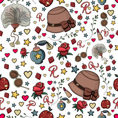 Vintage pattern accessories. Vector seamless pattern. Retro vintage pattern Element decorative floral rose and set feather, lipstick, heart, hat, fan, perfume. Ladies happiness pattern