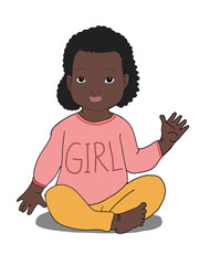 cute  cartoon curly black  girl baby  sitting illustration  girl text clothes