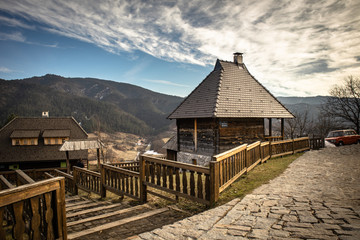 Mecavnik, Drvengrad or kustendorf, traditional retro idyllic village built by Emir Kusturica. Tourist attraction in Mokra Gora between the two mountains - Tara and Zlatibor in Serbia