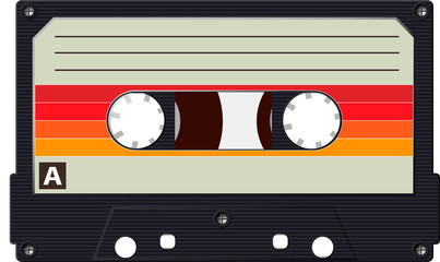 Cassette with a retro label as a vintage object for the design of the 80s. Realistic Vector Fototapete