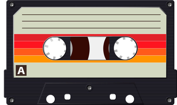 Cassette with a retro label as a vintage object for the design of the 80s. Realistic Vector