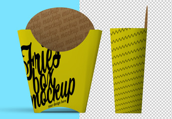 Isolated French Fry Packaging Mockup