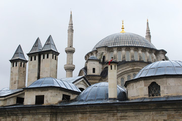 mosque, minarets and chimneys in istanbul