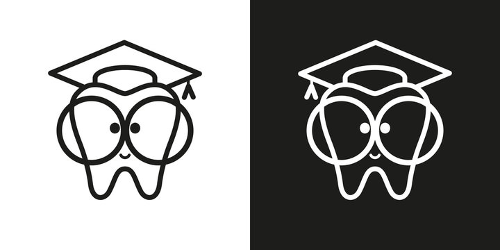 icon tooth with big glasses. Trowel, square academic cap, graduation hat. Vector illustration