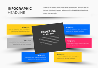 Box with Colored Stripes Infographic Layout