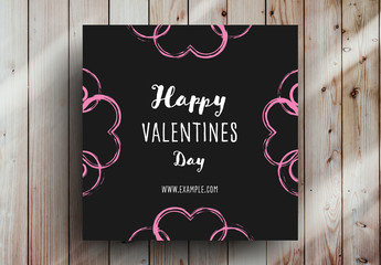 Valentine's Day Card Layout with Pink Hearts