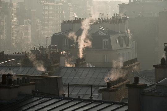 pollution ville énergie chauffage cheminée toit environnement consommation immeuble énergétique chauffer Paris capitale urbain urbanisation surpeuplé