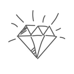 Brilliant icon, diamond in doodle style, vector illustration