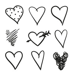 Hand drawn grunge hearts on isolated white background. Set of love signs. Unique image for design. Black and white illustration. Sketchy elements for design