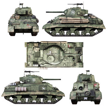 Various views of a Vintage American World War 2 allied armored medium combat tank on a isolated white background. WWII 3d rendering high resolution 8k image